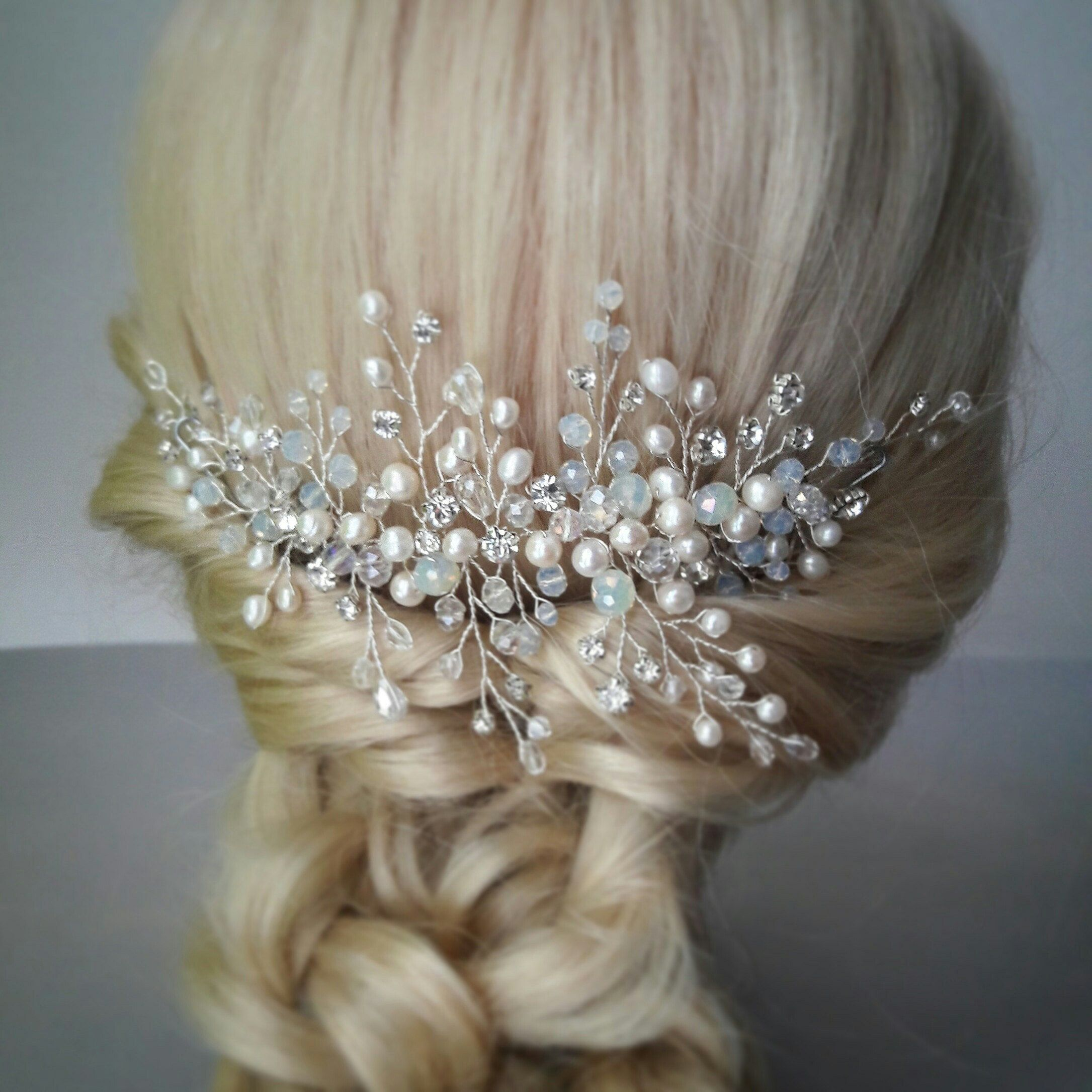 bridal headpiece wedding hair piece blue opal bridal hair