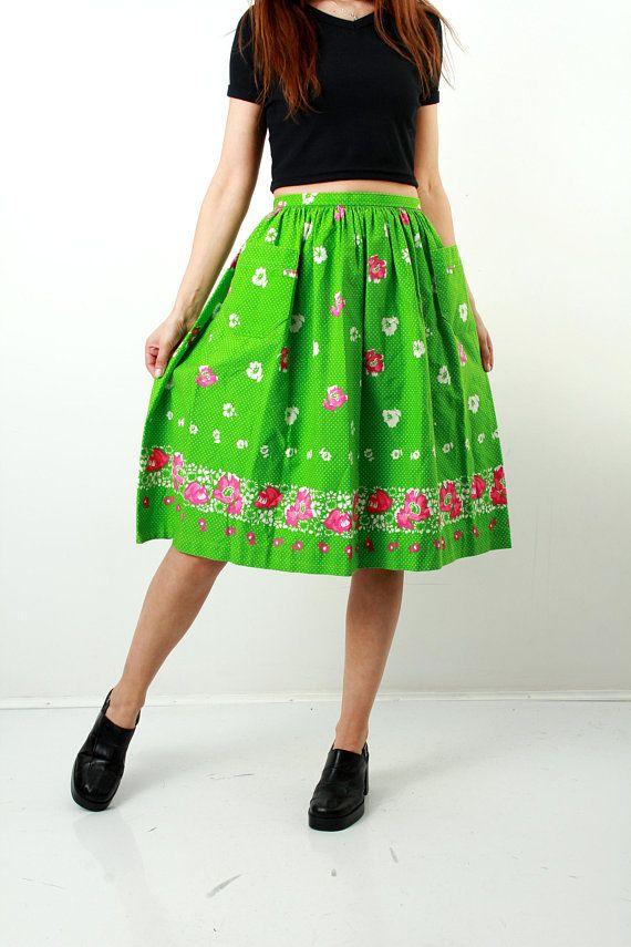 Cotton Floral Skirt / Gren Skirt / Granny Skirt / Romantic Skirt / Village Skirt / Knee Length Skirt / Country Skirt / Size M