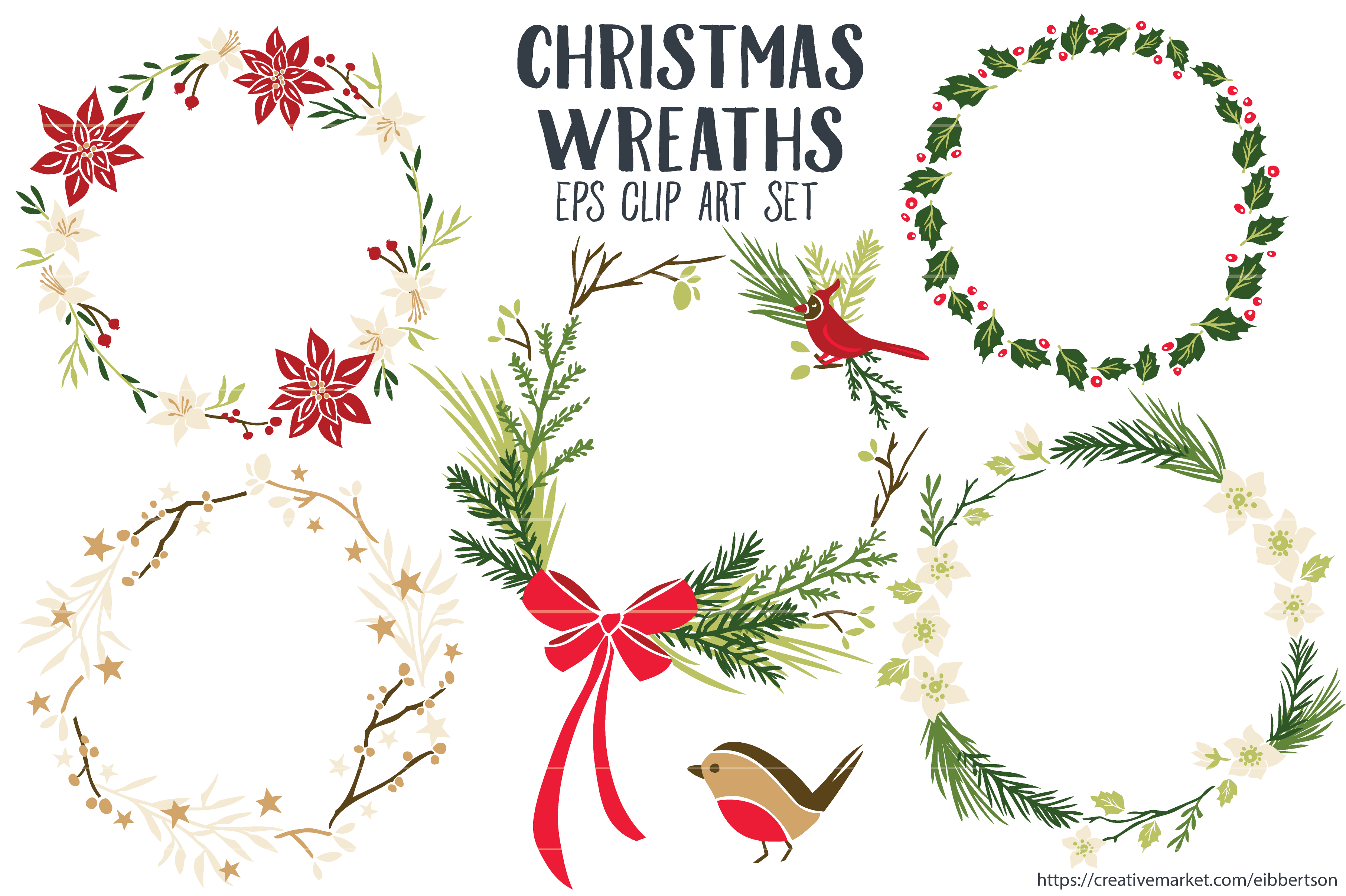 Christmas Wreaths Clipart Vector EPS By Trinket Allsorts On Creativemarket