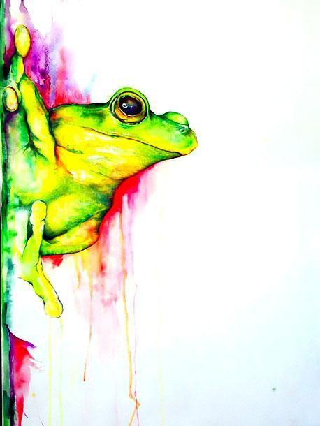 Beautiful Watercolor Tree Frog Tattoo Design Color Pencil Art