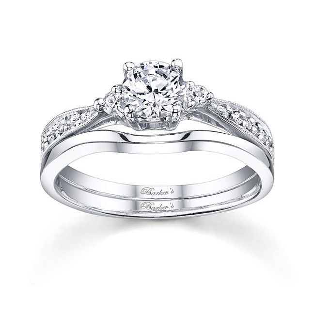 White gold diamond engagement ring set 7648SW Classic with