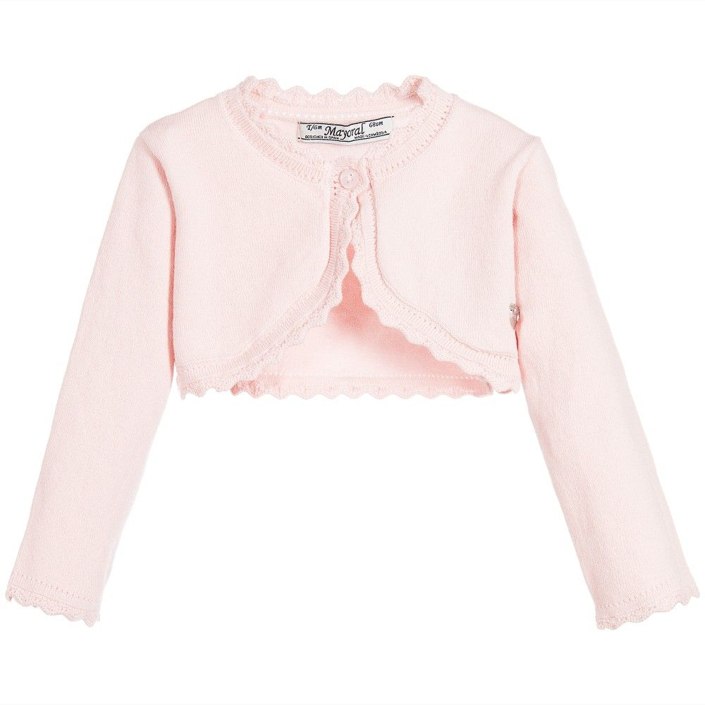 7100de832 Mayoral Baby Girls Pink Cotton Knitted Bolero Cardigan at ...
