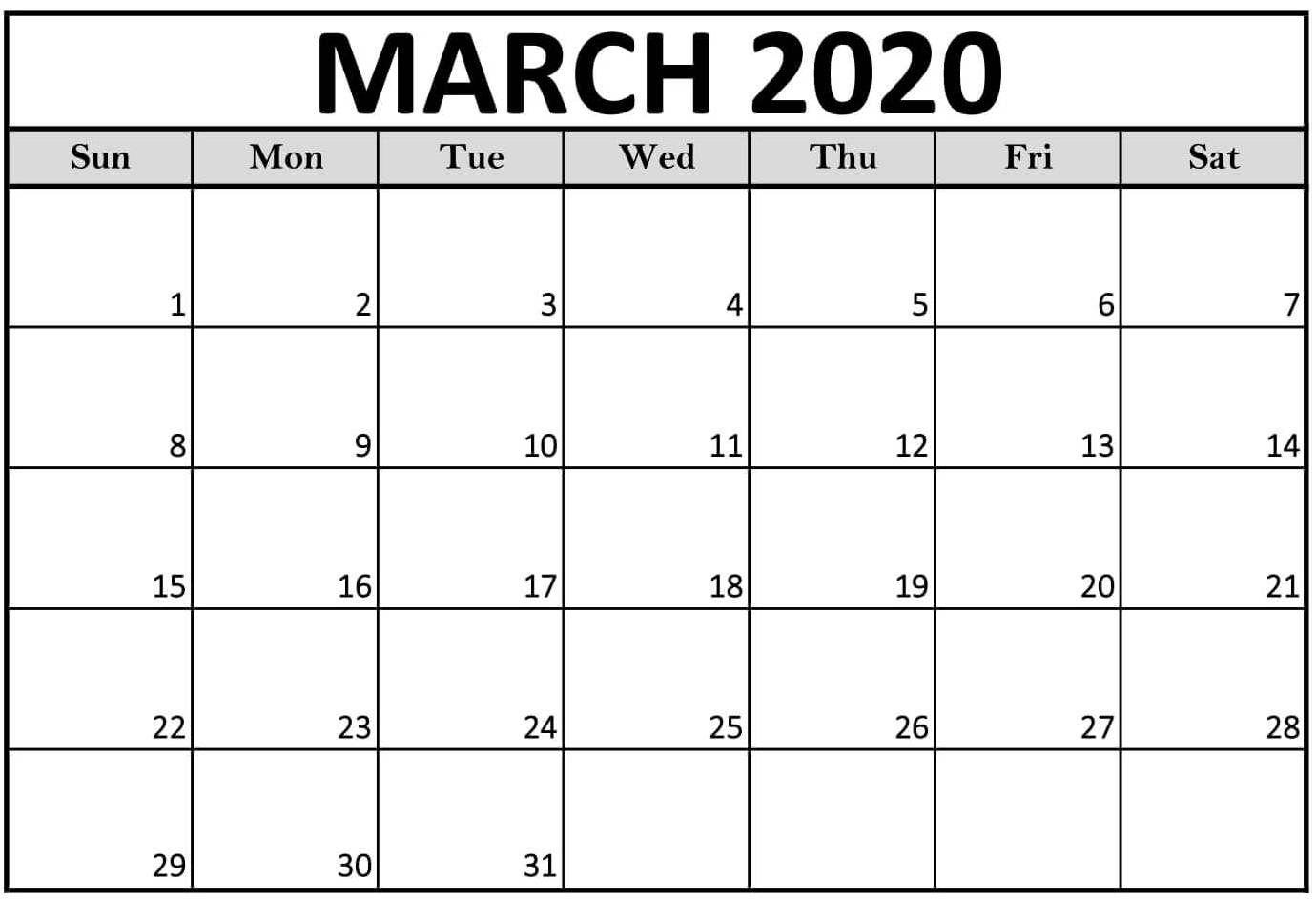 Editable Calendar Template March 2020 in 2020 Blank