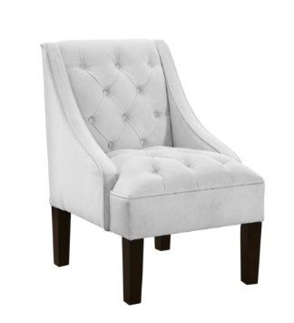 Amazon.com: Skyline Furniture Tufted Swoop Arm Chair in Velvet White: Home & Kitchen $264