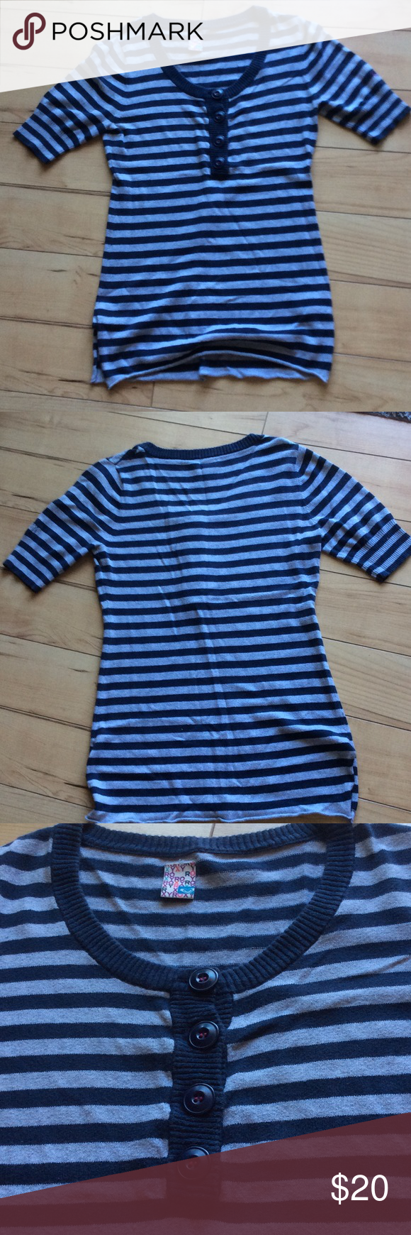 Roxy short sleeved sweater Navy blue and grey striped short sleeve ...