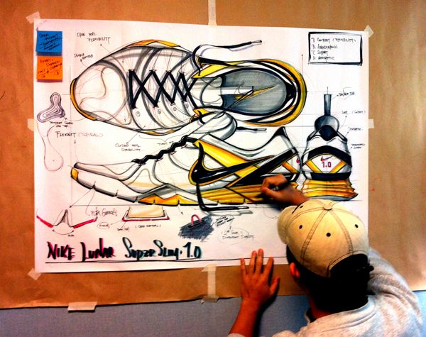 Sketches we like / Nike / Shoe 7 Softgoods / Nike Lunar / Marker and pencil  / at Tasty Sketch