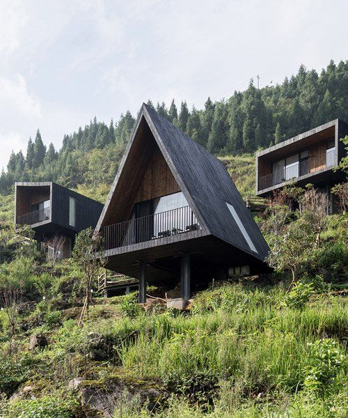 Photo of ZJJZ builds charred timber volumes in rural china for 'woodhouse hotel'