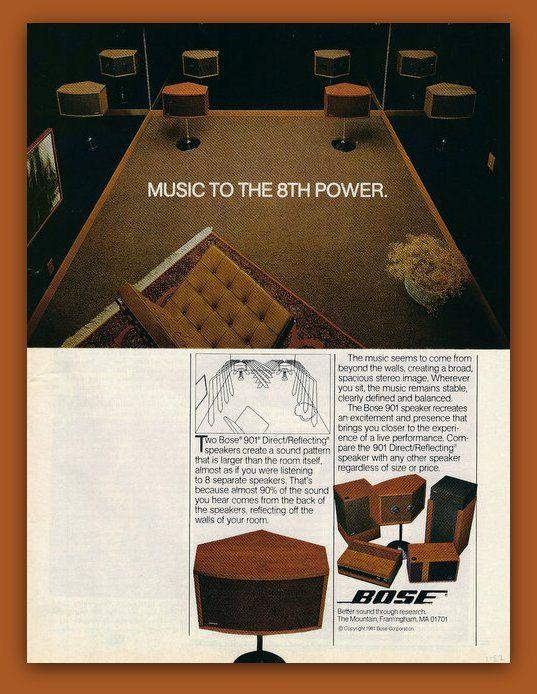 Bose 901 Stereo Speakers Vintage Magazine Ad By