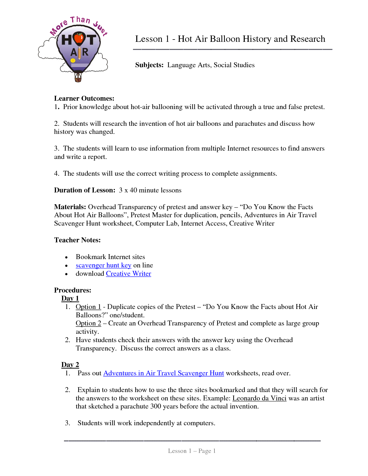 hight resolution of Lesson 1 - Hot Air Balloon History and Research   Hot air balloon