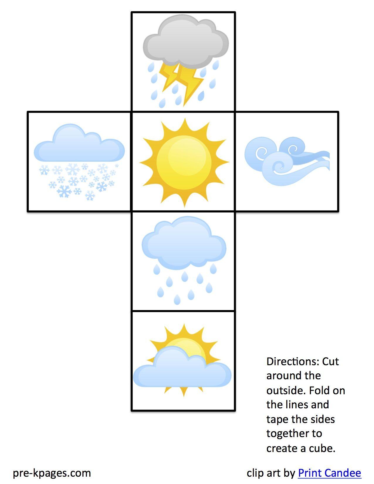 Create Weather Dice Weather Kindergarten Preschool Weather Weather Crafts [ 1650 x 1275 Pixel ]