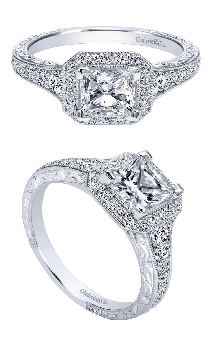 A ring fit for a Queen. A 14k White Gold Victorian Halo