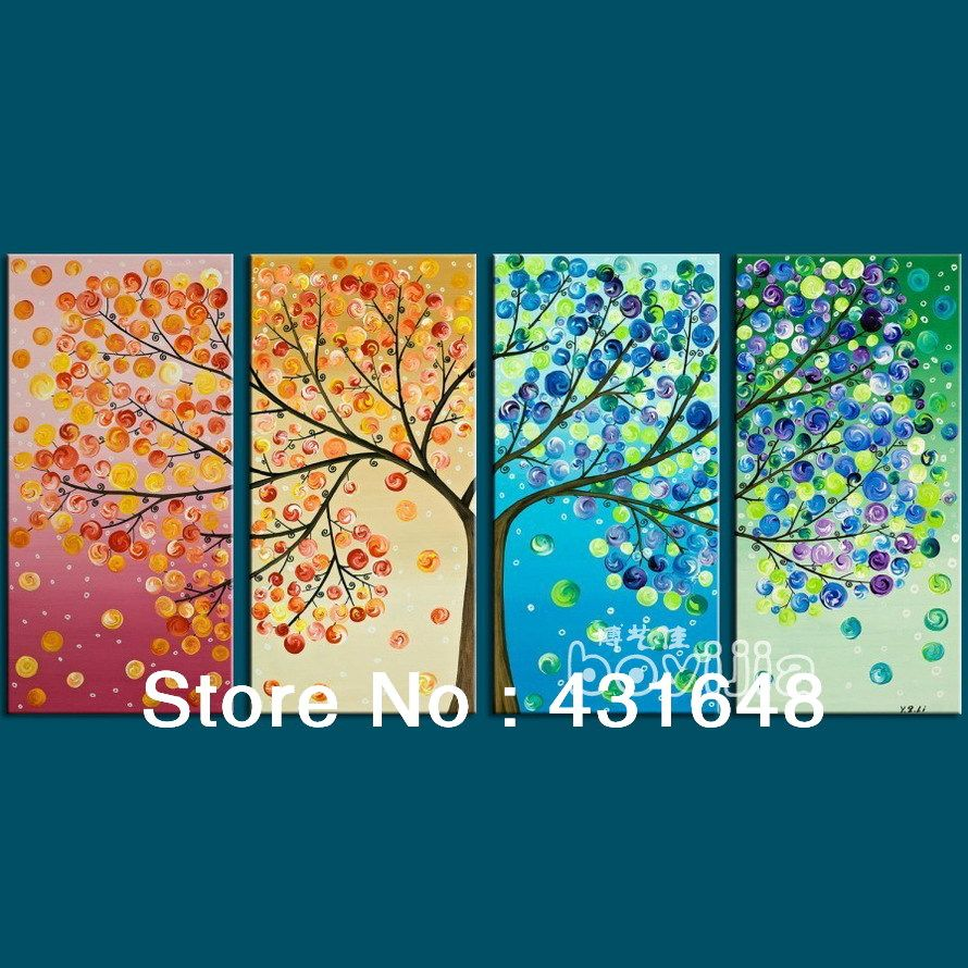 4 Season Wall Art Oil Painting The Tree With Four Seasons Abstract 5990 Per