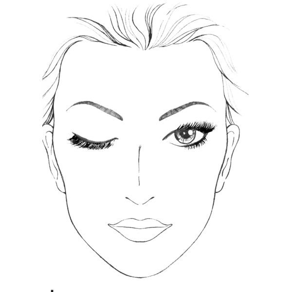 Blank Face Template With One Eye Closed For Makeup Ideas