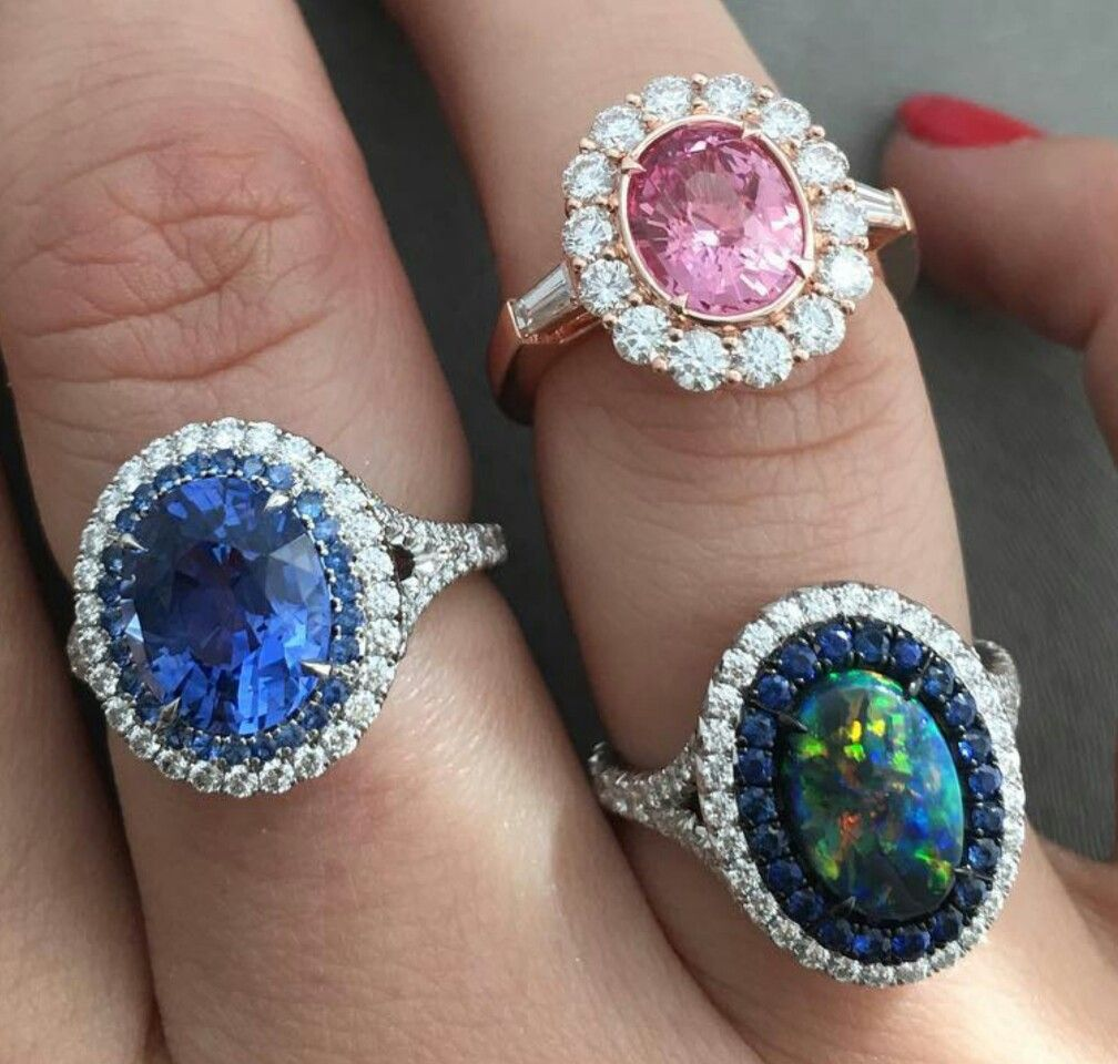 Our latest rings top padparadscha sapphire opal and sapphire and
