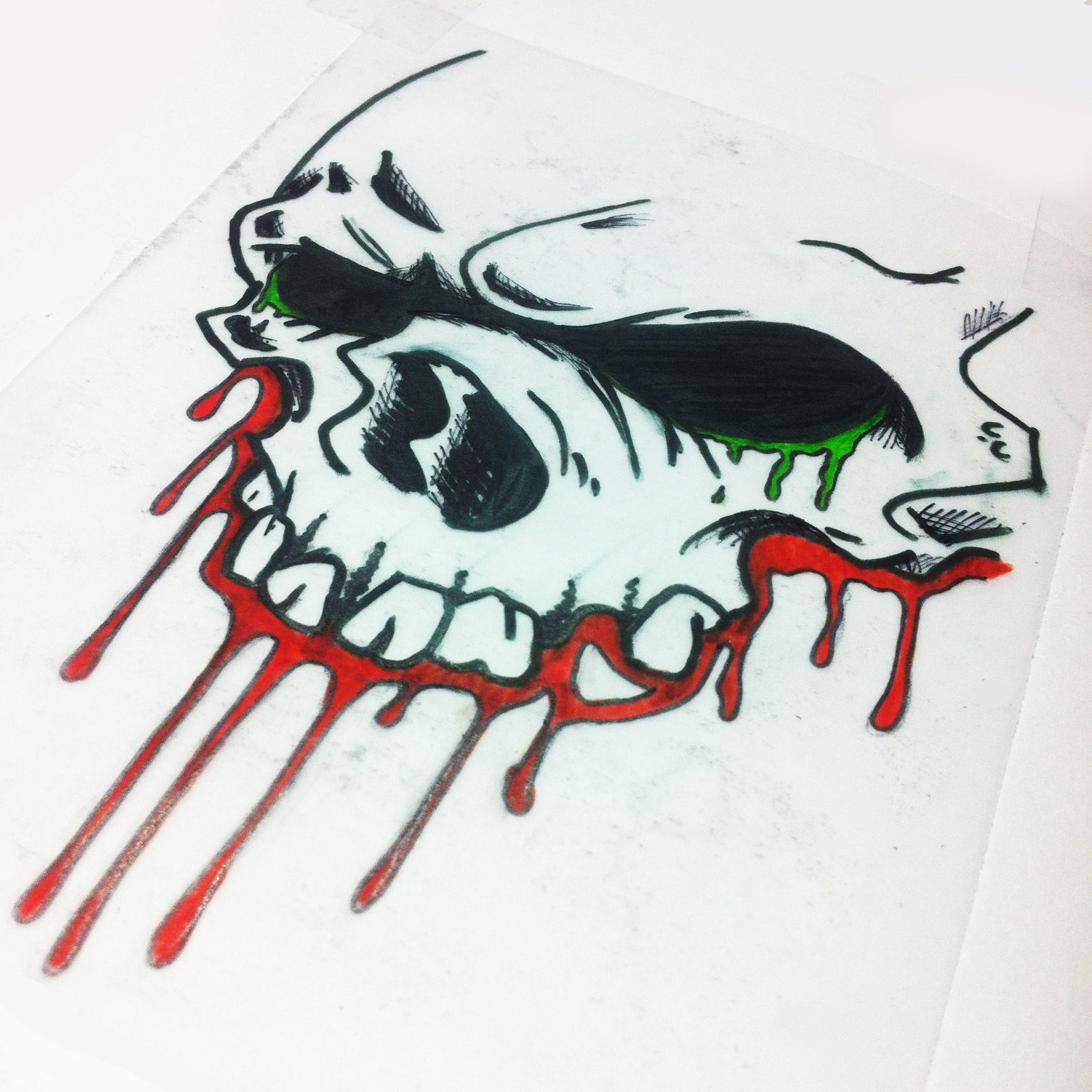 skull with colored blood - new school tattoo sketch ...