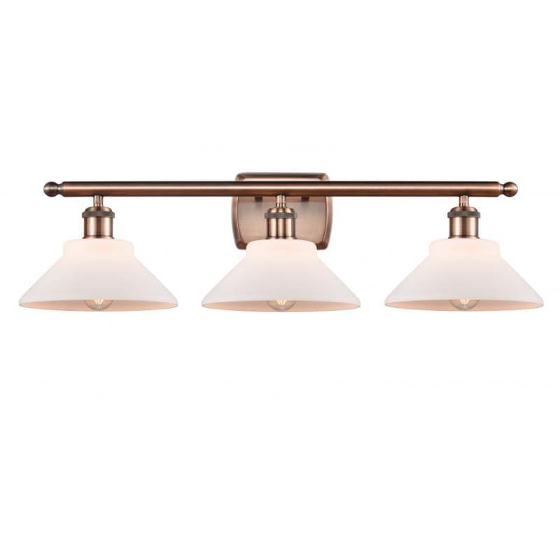 Photo of Innovations Lighting 516-3W Orwell Orwell 3 Light 26″ Wide Vanity Light Antique Copper / Matte White Indoor Lighting Bathroom Fixtures Vanity Light