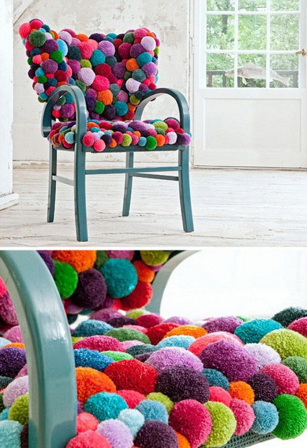 Colorful Pom Chair A Cushion Like This One Looks So Comfortable And Also Adds More Color To Any Home