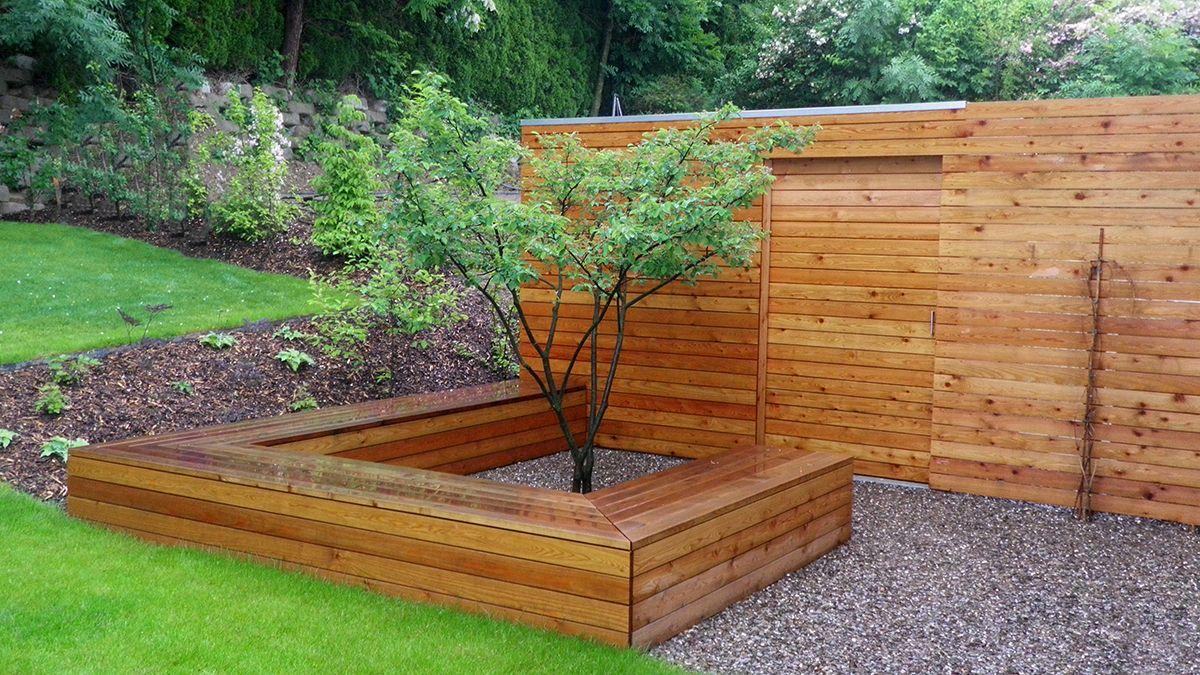Dieser Gartenschrank aus heimischem Lärchenholz ist eine