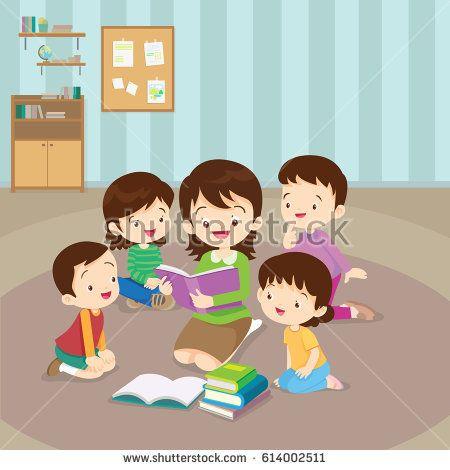 Teacher And Kids Children Enjoy Listening To Stories Teacher Reading Books Reading Teacher Kids Vector Animation Schools