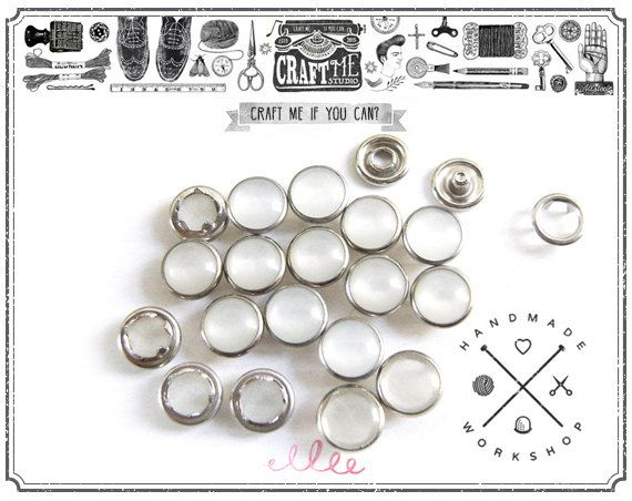 Silver Brass Rim Setting CRAFTMEMORE 20 Sets 12mm Pearl Snaps Fasteners Pearl-Like Prong Snap Button for Western Shirt Clothes Popper Studs 12 mm, Black