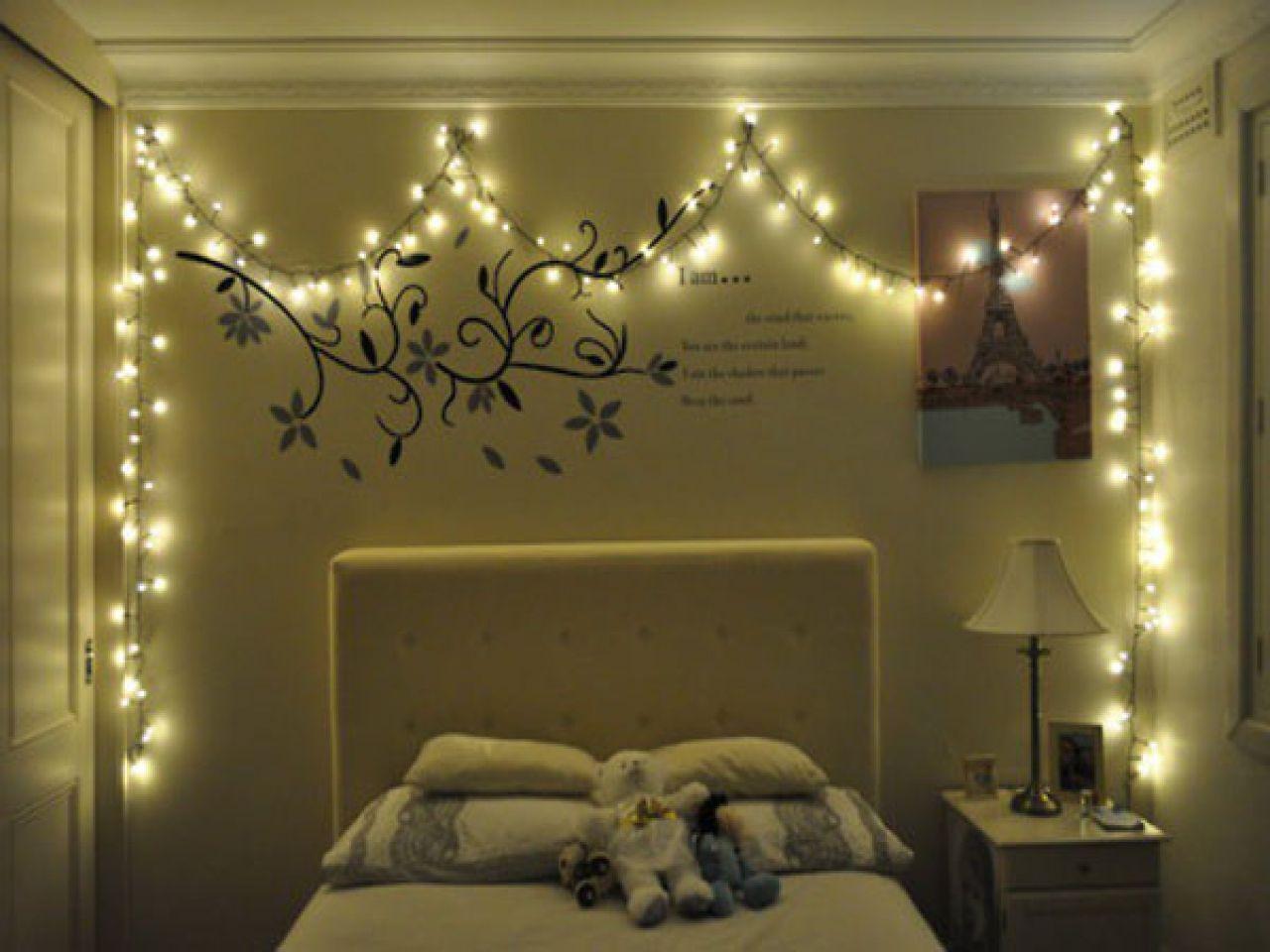 Christmas Light Decorations Bedroom Decorating Ideas Room In 2020 Christmas Lights In Bedroom Christmas Lights In Room Bedroom Decor Lights