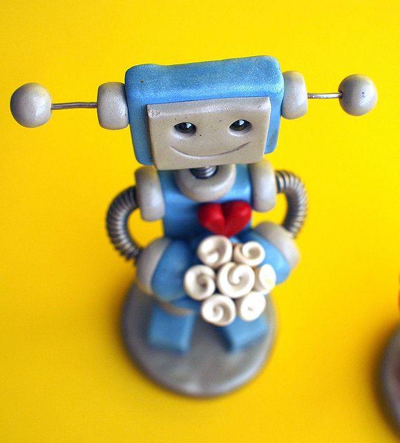Robot Wedding Cake Topper Orange and Blue Bots | Photography ...