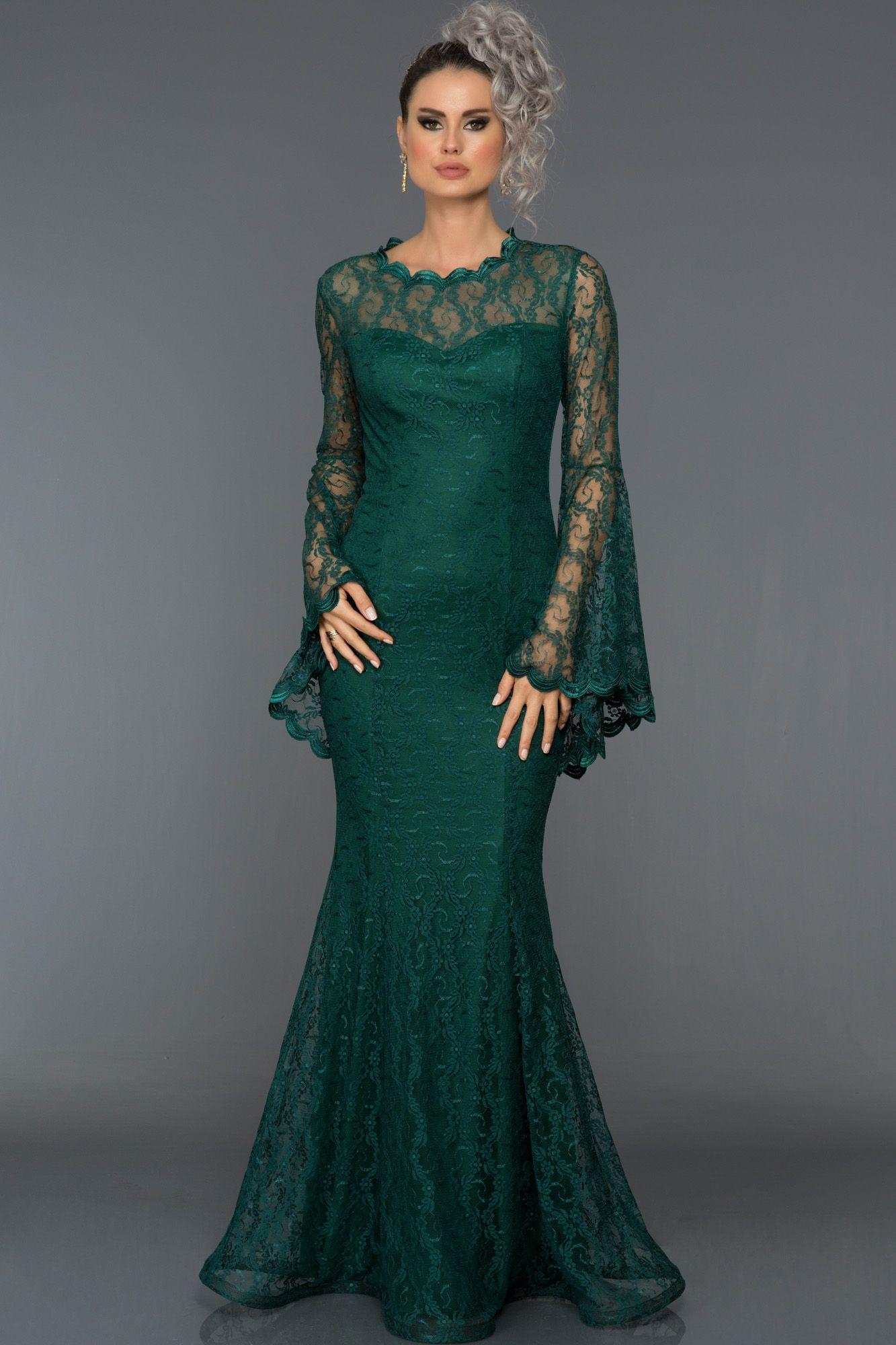 Zumrut Yesili Dantelli Uzun Kol Abiye Elbise L6040 Elbise Elbise Modelleri Blazer Elbise