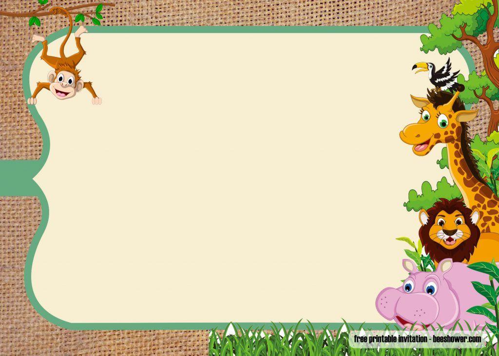 Free safari theme baby shower invitations templates