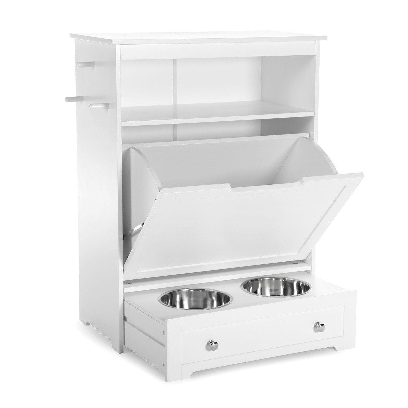 Pet feeder station storage cabinet