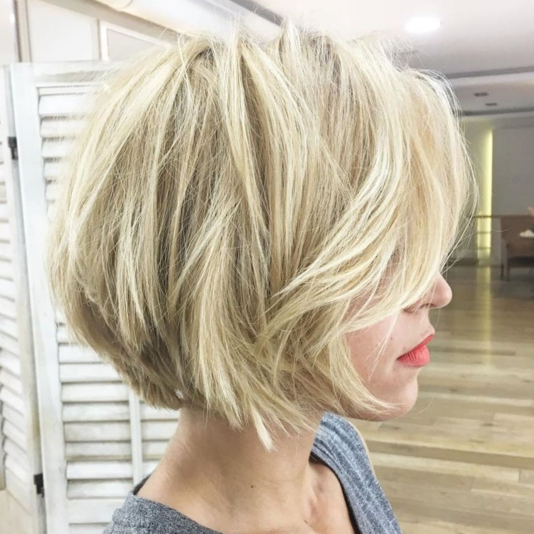 Short Blonde Bob With Layers For Fine Hair Short Blonde Bobs Thick Hair Styles Short Bob Hairstyles