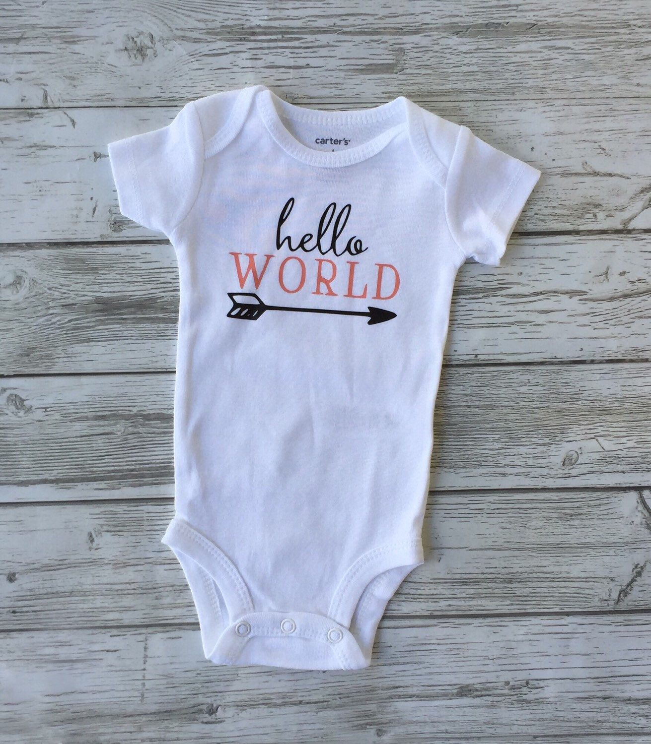 A personal favorite from my Etsy shop https://www.etsy.com/ca/listing/470644699/hello-world-baby-onesie-toddler-tshirt
