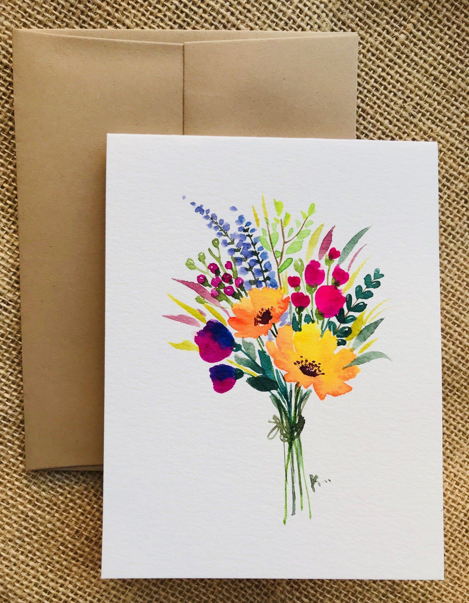Hand Painted Greeting Cards With Flowers Watercolor Flowers