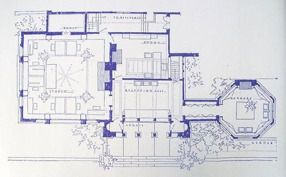 Frank Lloyd Wright Studio Blueprint By Blueprintplace On Etsy 18 99 Frank Lloyd Wright Lloyd Wright Architecture Drawing