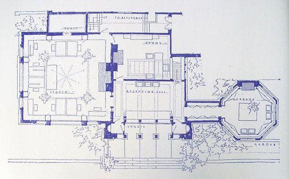 Frank lloyd wright studio blueprint by blueprintplace on etsy blueprint frank lloyd wright house and studio 951 chicago avenue oak park il 1889 prairie frank lloyd wright malvernweather Choice Image