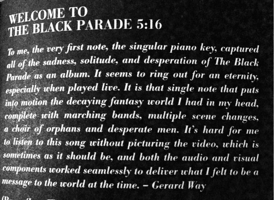 Gerard Way on Welcome to the Black Parade ~ From Death Will Never Stop You Booklet ~ My Chemical Romance <3