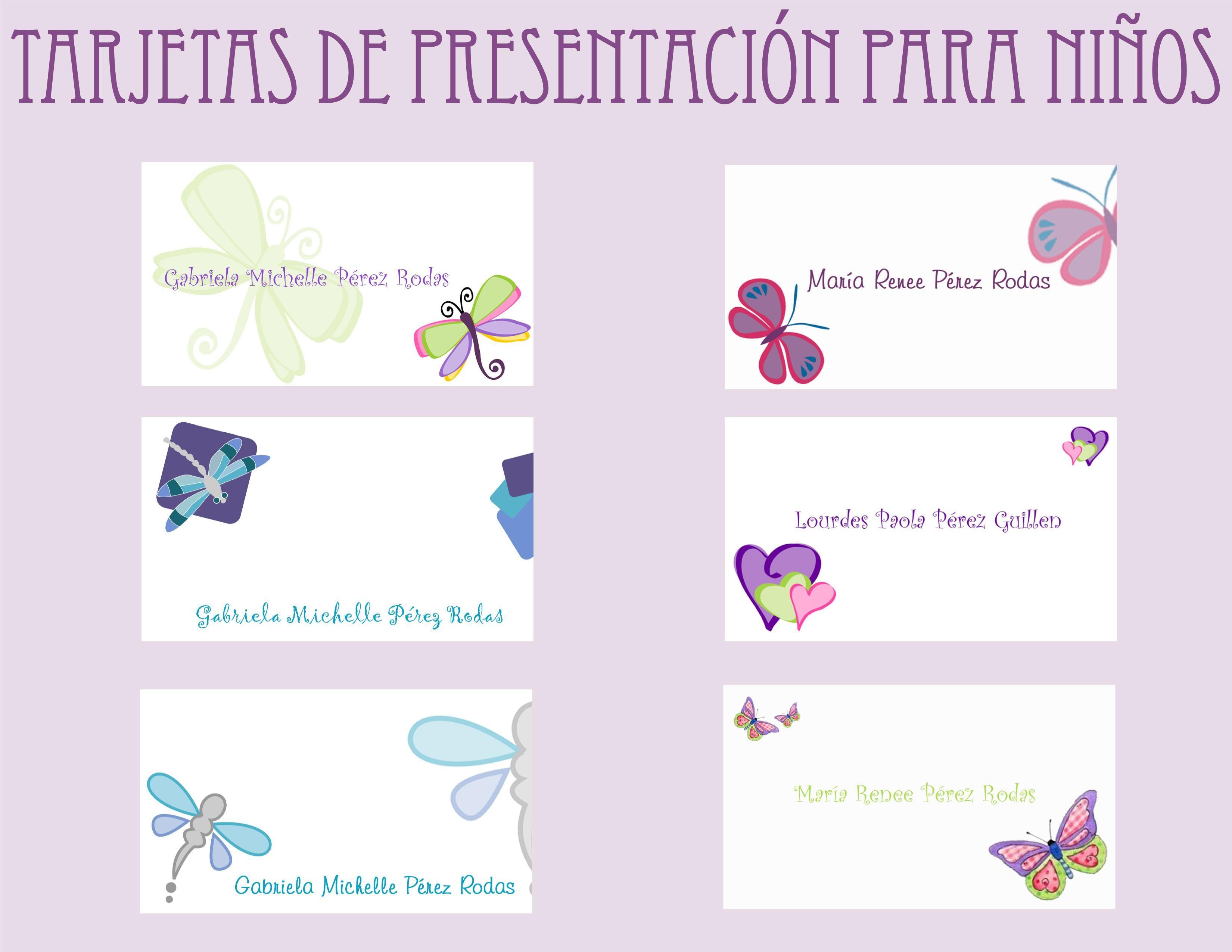 Tarjetas de Presentación Infantiles! « Andrea Blog | marcos para ...
