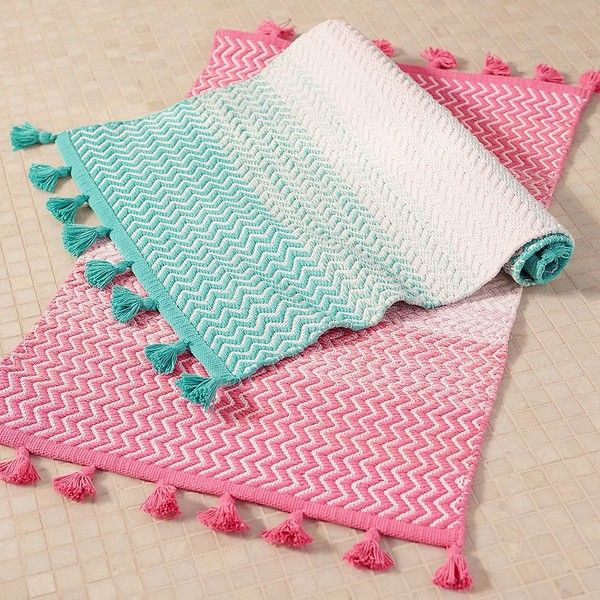 PB Teen Sunrise To Sunset Bath Mat, Bright Pink At Pottery Barn Teen ($16)  ❤ Liked On Polyvore Featuring Home, Bed U0026 Bath, Bath, Bath Rugs, Hot Pink  ...