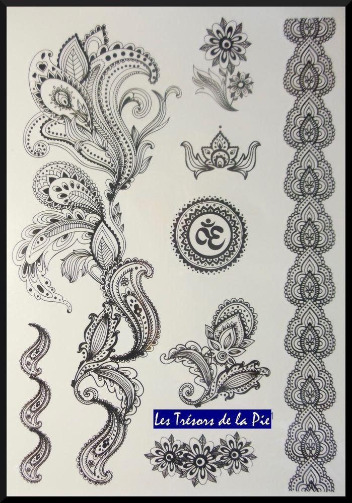 tatouages temporaires tatoo xxl x8 body art motif dentelle volutes noir pinteres. Black Bedroom Furniture Sets. Home Design Ideas