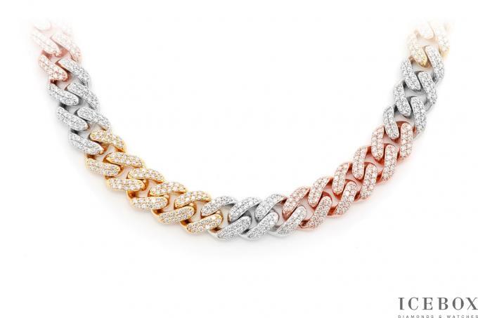Cuban Chain Necklace 10 83ctw 14k Tri Tone Gold Gold Chain With Pendant Mens Diamond Necklace Womens Diamond Necklace