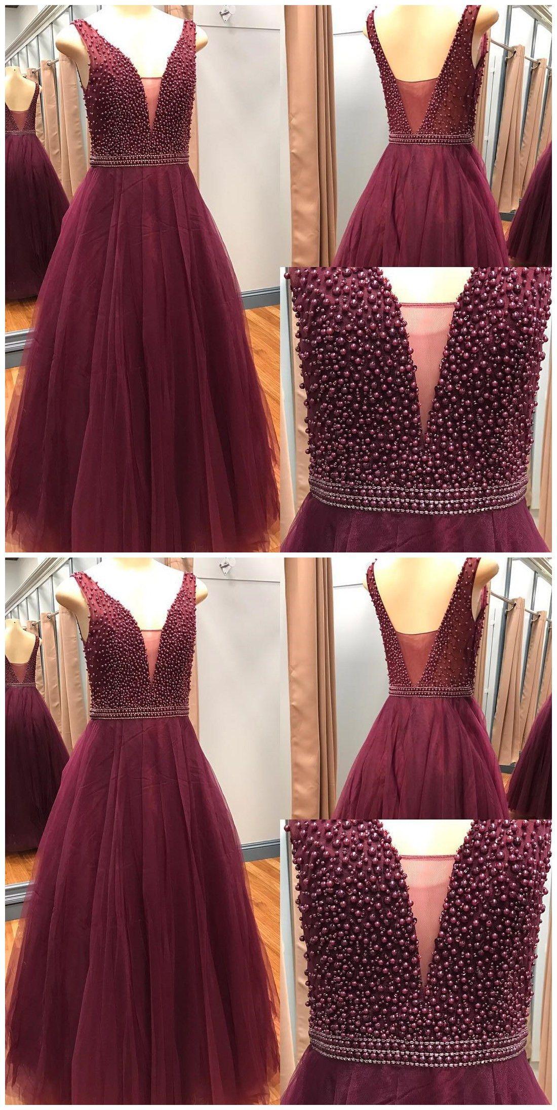 Elegant beaded long prom dress v neck tulle prom pinterest