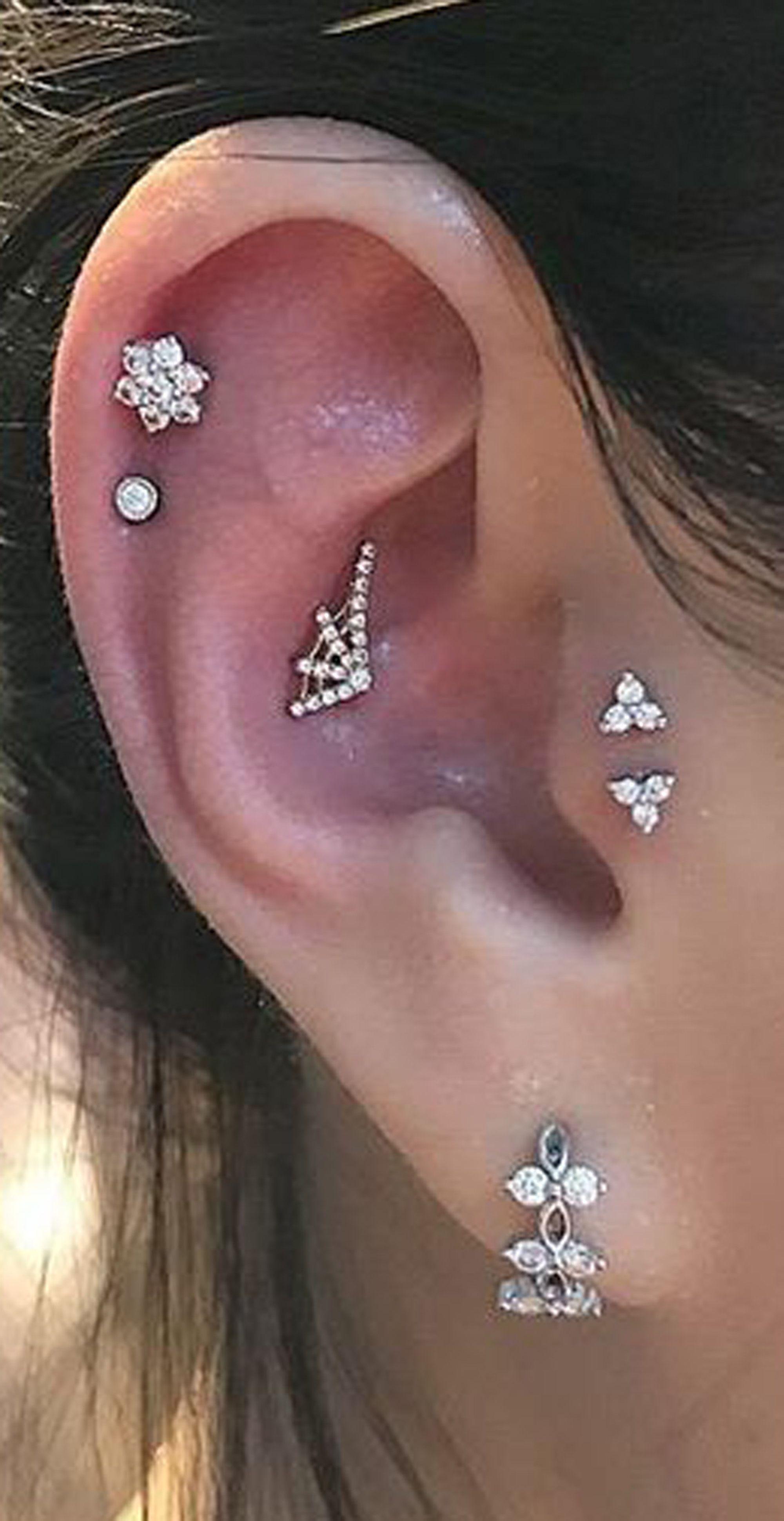 High nose piercing  cute multiple ear piercing ideas for women pretty crystal flower