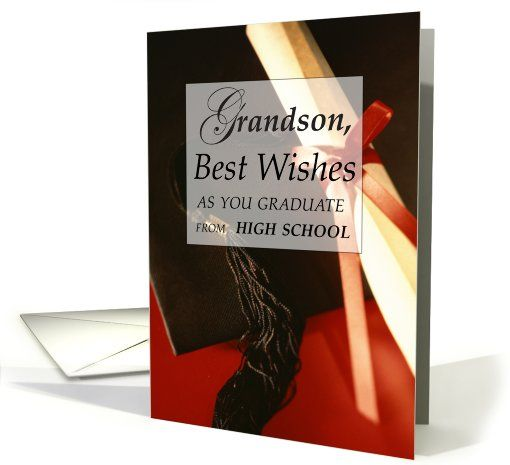 Grandson, High School Graduation Wishes Greeting card by Sandra Rose Designs