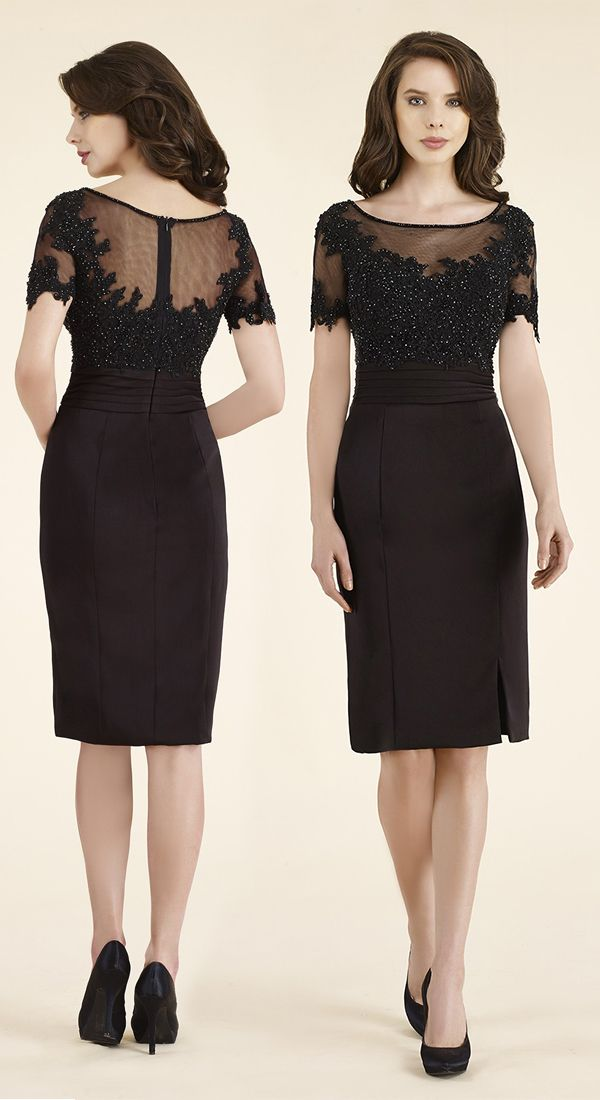 0c063f132 Sheath-Column Illusion Knee Length Lace/Stretch Crepe Black Short Sleeve  Zipper Mother Of The Bride Dress Beading 2313S #motherdresses #cocomelody