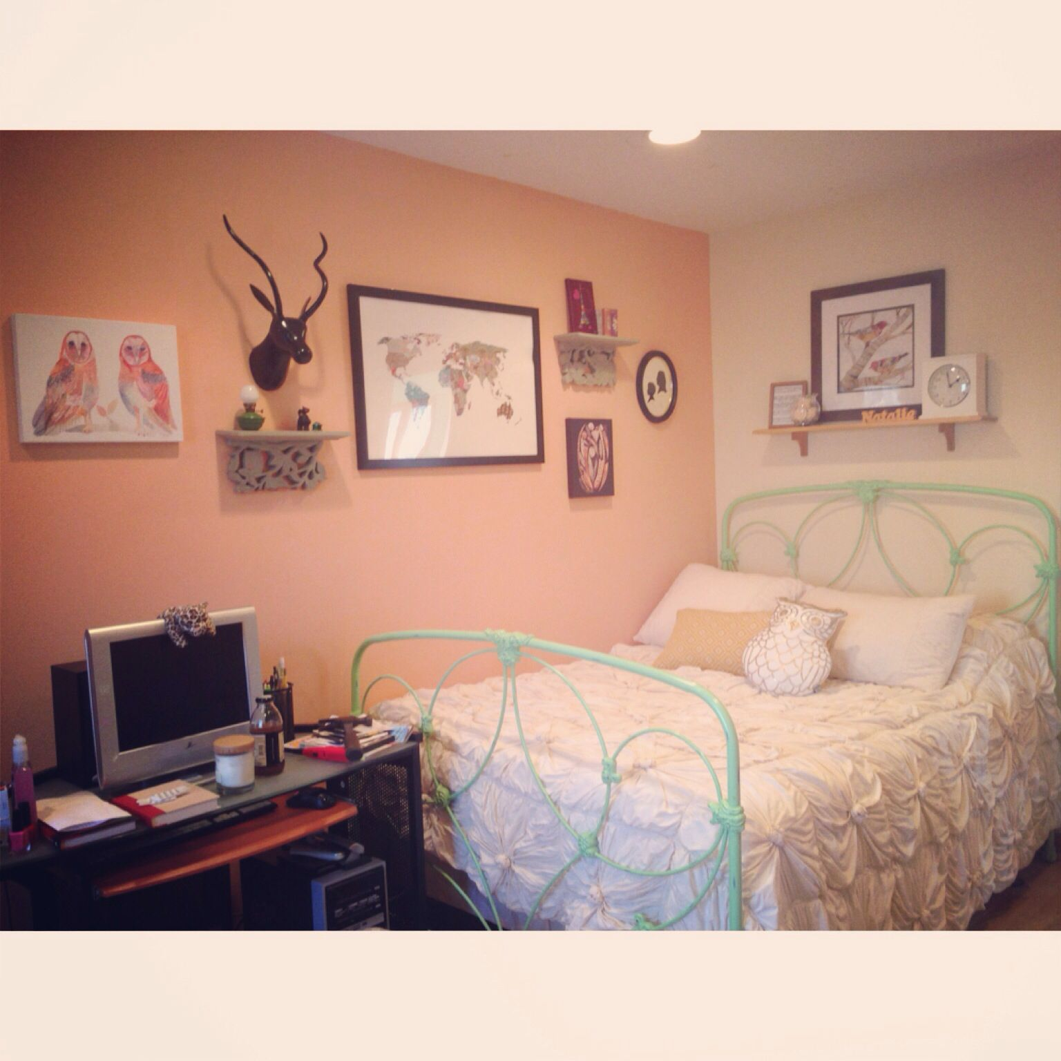 Bedroom Collage Elk Head Anthropologie Bedspread Urban Outfitters Pictures Peach Walls Pb