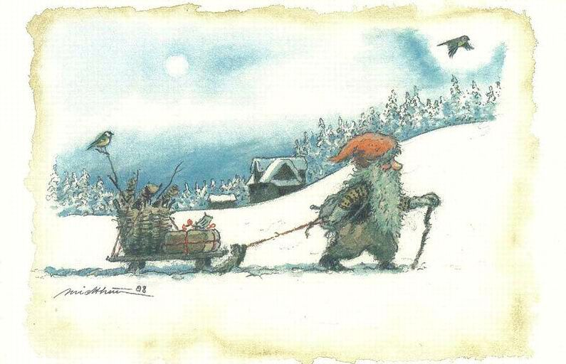 Norwegian Artist Kjell Einar Midthun From His Collection Of Drawings Nisse In Scandinavian Folklore Is A Household Spirit Responsible Fo Julekort Cards