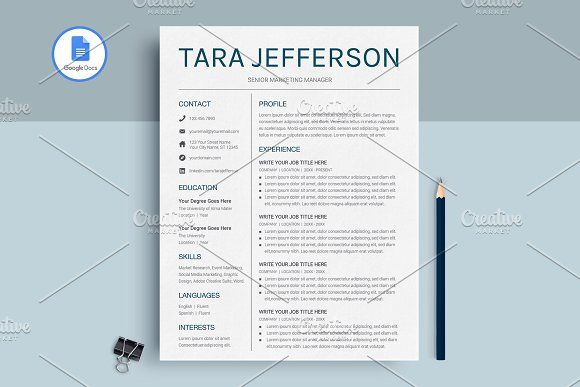 Google Docs Resume Template by MioDocs on @creativemarket Resume - google docs resume templates