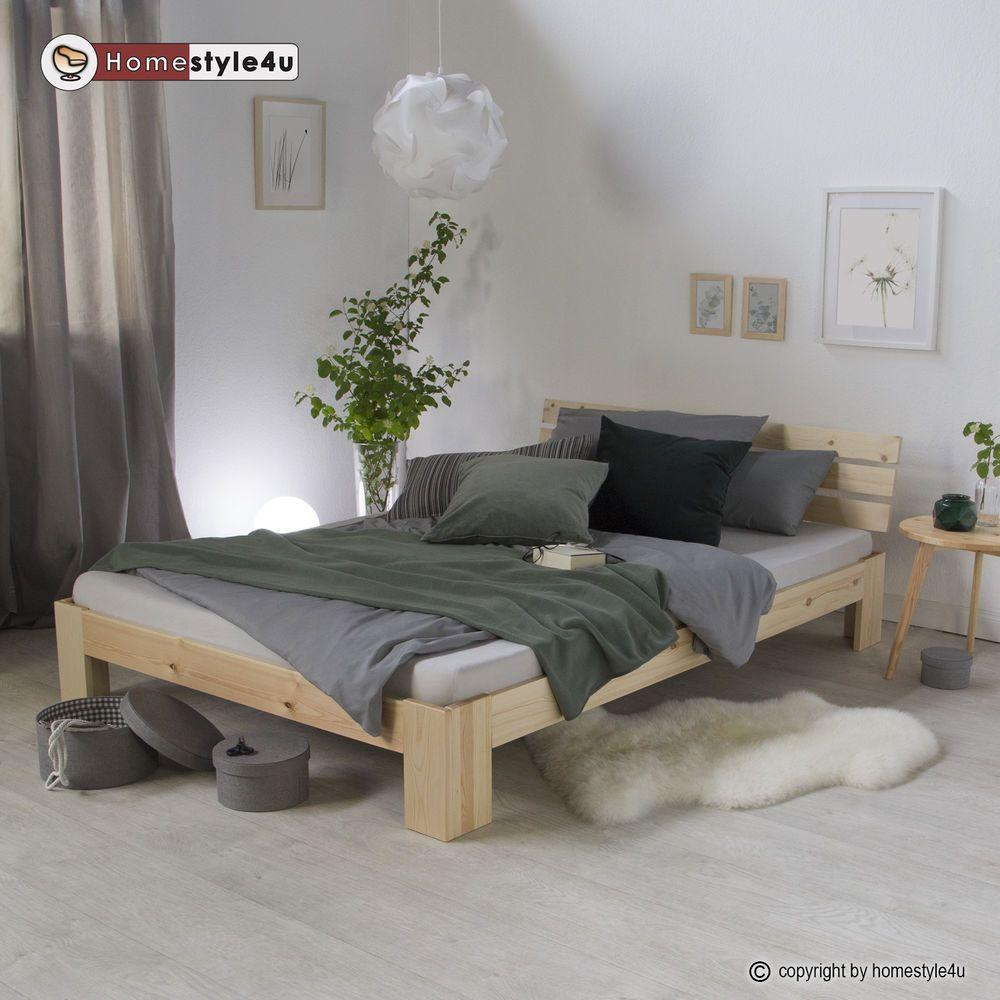 Doppelbett Holzbett Futonbett 180x200 Natur Kiefer Bett