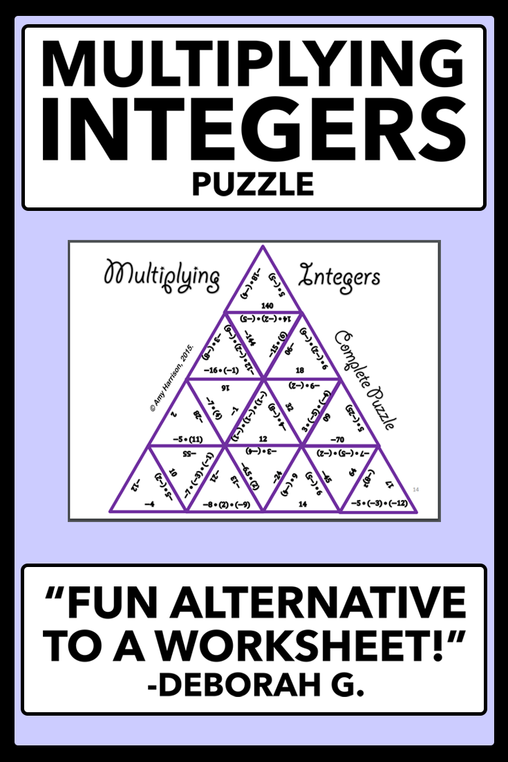 Multiplying Integers Matching Puzzle Middle School Jr High Math 6th 7th 8th Grade Integers Multiplying Integers Fun Math Activities [ 1102 x 735 Pixel ]