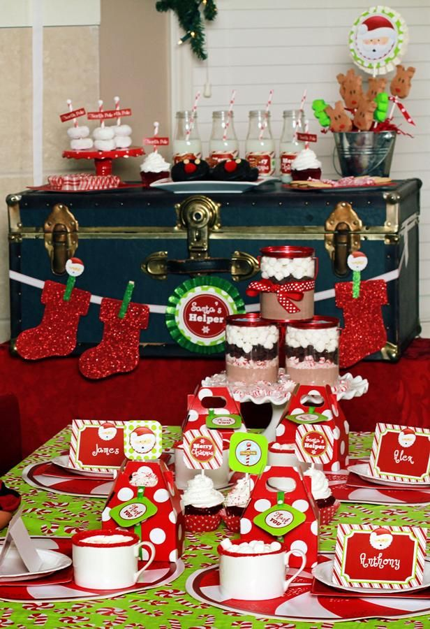 Christmas themed kids party love all of the food ideas Holiday