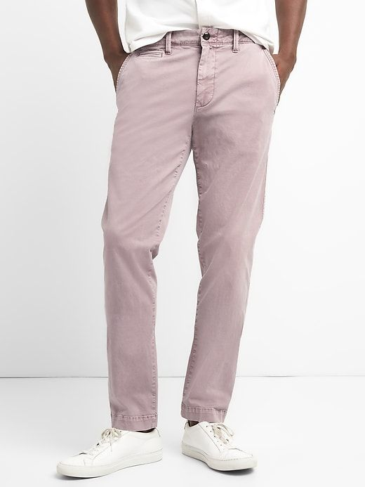 5c0565b47650 Gap Mens Washwell Vintage Wash Khakis In Slim Fit With Gapflex Dusty Mauve
